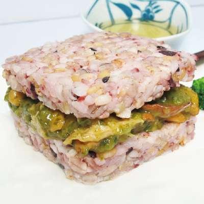 米食天地五穀青醬素干貝米漢堡-全素(170g/單入)