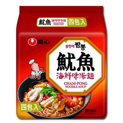 農心魷魚海鮮味湯麵(4入-496g/袋)