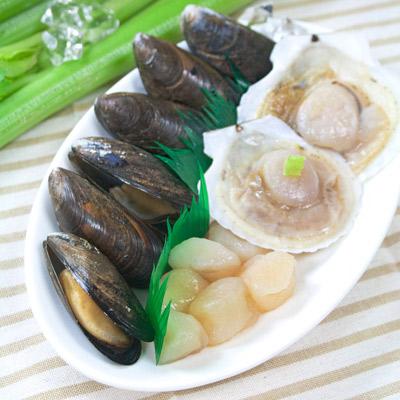 簡單生鮮三貝盤(淡菜、扇貝、腰子貝)(250g/包)