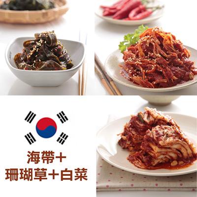 醄醴敬妻泡菜黃金香辣泡菜組(海帶+珊瑚草+白菜)
