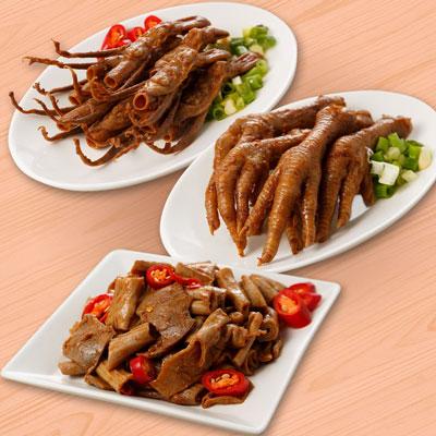 祿大經典滷味A組(鴨舌、脆腸、雞腳各2包-微辣)