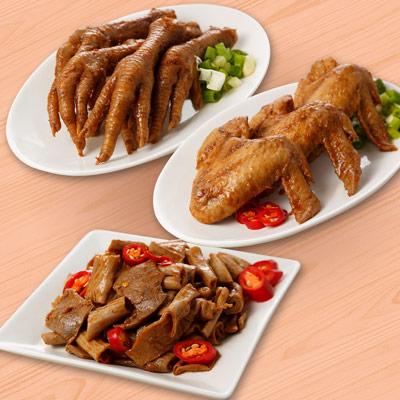 祿大經典滷味D組(雞翅、雞腳、脆腸各2包-微辣)