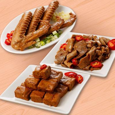 祿大經典滷味F組(鴨翅、豆干、脆腸各2包-微辣)