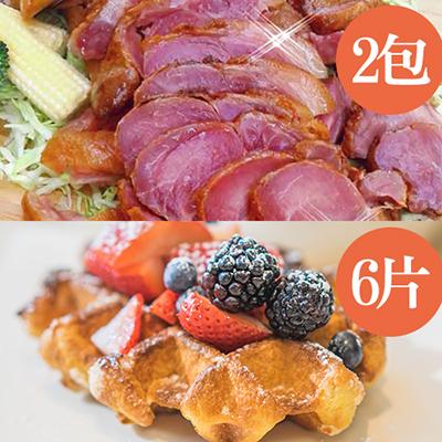 懶骨頭德國豬腳帶骨切片2包+現烤比利時烈日鬆餅6片