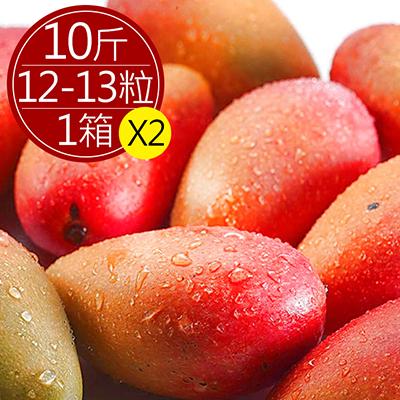 巨無霸枋寮愛文芒果10斤(12-13粒)*2箱