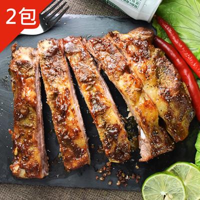 BBQ炭烤豬肋排(500g±5%/包,共2包)
